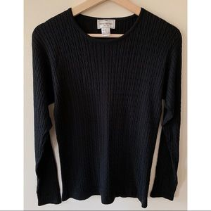 Henri Bendel • M • 100% Silk Cable Knit Crewneck